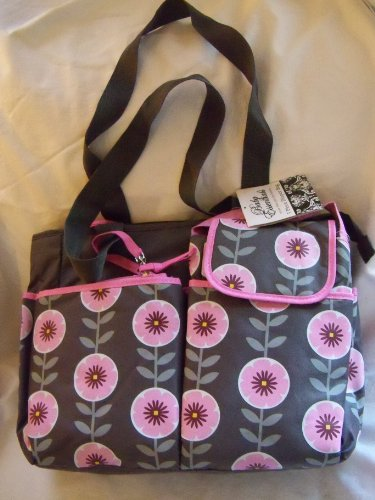 Baby Essentials Floral 5 in 1 diaper bag grey - pink