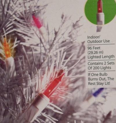 400 Holiday Time Multi-Color Mini Lights, White Wire