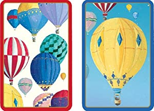 Entertaining with Caspari Double Deck of Bridge Playing Cards with Jumbo Typeface, Hot Air Balloons, Set of 2