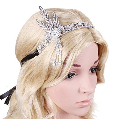 YallFF-Luxury-Silver-tone-the-Great-Gatsby-Inspired-Art-Deco-Wedding-Tiara-Headpiece-Headband-2-sets-Ribbons-Black-Golden