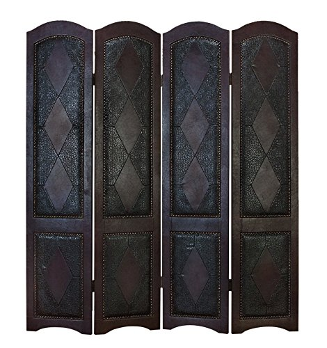 Benzara 81696 Wood Leather 4-Panel Screen Brings Completeness To Decor front-823206