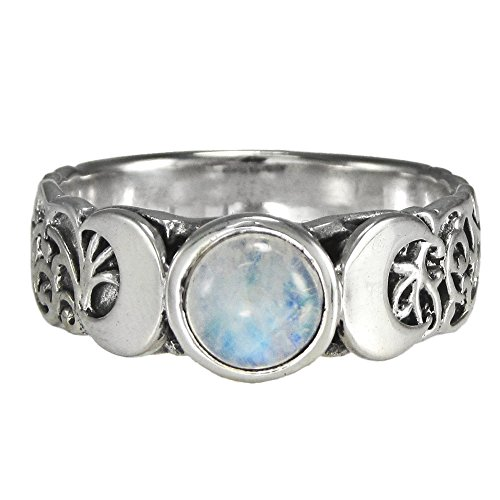 Triple Crescent Moon Goddess Rainbow Moonstone Ring Sterling Silver Jewelry (sz 4-15) sz 11