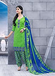 Green Jacquard Cotton Salwar Kameez (Unstitch)