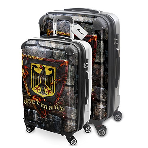 Blason Allemagne, 2 pièce Set Luggage Bagage Trolley de Voyage Rigide 360 degree 4 Roues Valise avec Echangeable Design Coloré. Grandeur: M, L