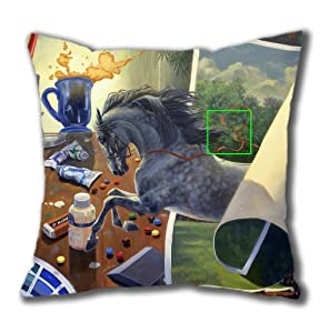 Illustration Painting Near Taos Standard Size Design Square Pillowcase/Cotton Pillowcase with Invisible Zipper in 40*40CM 16*16(527)-527124 by Square Pillowcase
