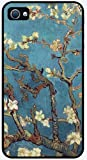 Van Gogh - Almond Branches in Bloom Best Rubber Cell Phone Case Cover for iPhone 4, iPhone 4S - BLACK