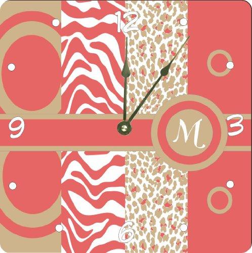 "Rikki Knighttm Letter M Monogrammed Initial Coral - Sand - Animal Prints Leopard Zebra - Spring Fashion Colors 2014 - Design 6"" Art Desk Clock front-592796"