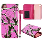 Pink Camo Realtree Leather Wallet Flip ID Pouch Apple Iphon 4, 4S at&t. Verizon, Sprint, C Spire Case Cover Hard Phone case Snap-on Cover Rubberized Touch Faceplates