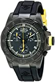 Invicta Men's 12155 Pro-Diver Chronograph Black Dial Black Polyurethane Watch with Blue Impact Case