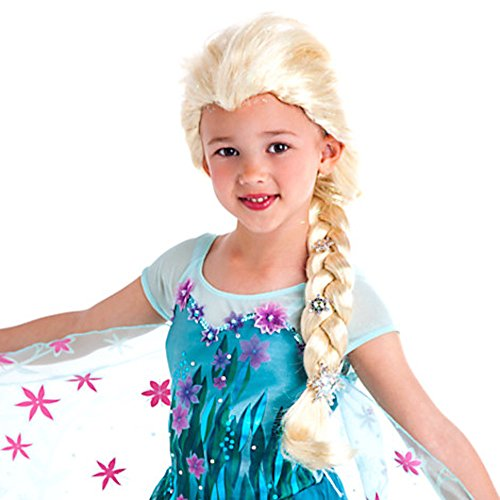 disney store frozen elsa wig with silver snowflake jewel accents and iridescent strands costume wig