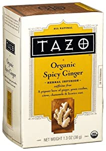 Tazo Organic Spicy Ginger Herbal Infusion Tea, Caffeine Free, 20-Count Tea Bags (Pack of 6)