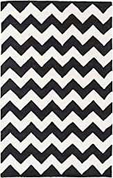 Black Wool Rug Contemporary Design 5-Foot x 8-Foot Hand-Made Chevron