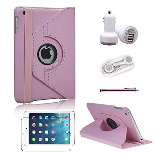 L&F Ipad Mini Case, Leather 360 Degrees Model, Function: Automatically Wakes And Puts The Ipad Mini To Sleep, From L&F (Pink 5In1, Ipad Mini)