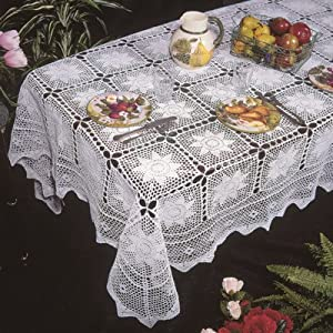 "Stars Crochet Design Tablecloth in Beige Size: 66"" W x 120"" D"