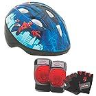 Marvel Spiderman Kids Toddler Skate / Bike Helmet Pads & Gloves - 7 Piece Set