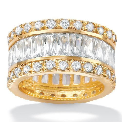 DiamonUltra™ Cubic Zirconia 18k Gold over Sterling Silver Eternity Band, Sizes 7-12
