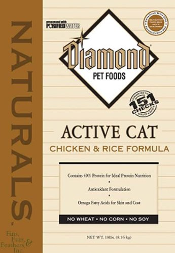 See Diamond Naturals Dry Food for Adult Cats, Active Cat Chicken and Rice Formula, 18 Pound Bag
