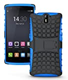 JKase DIABLO Tough Rugged Dual Layer Protection Case Cover with Build in Stand for OnePlus One - Retail Packaging (Blue)