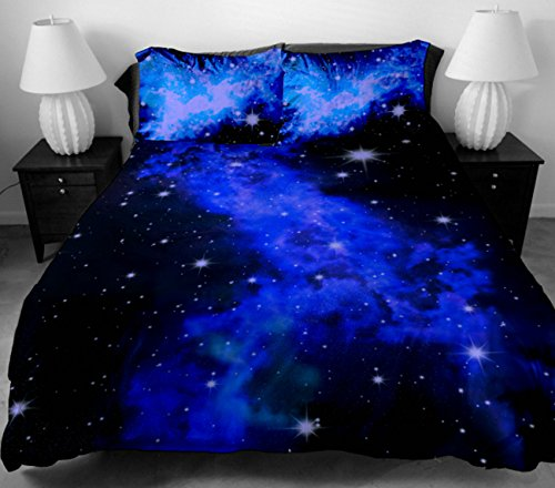 Anlye Luxury Bedding For Girls Gifts 2 Sides Printing The Beautiful Blue Star Bed Linen With 2 Silk-Like Pillow Cases Queen front-1014559