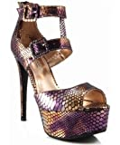 Anne Michelle Vivica-10 Snake Print Ankle Strap Platform Sandal TAN