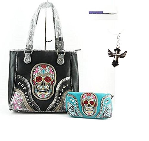 Black Pirate Sugar Skull Concealed Weapon Carry Hand Gun Purse Turquoise Blue Wallet Free KEY Ring Pen Set