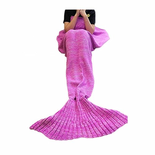 Mermaid Blanket,Puremakee Mermaid Tail Blanket Warm Soft All Seasons for Kids,Sofa Quilt Living Room Super Sleeping Bags (Pink,55.12