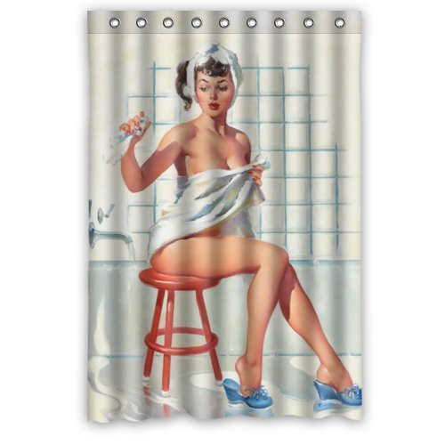 Sexy Bathroom Art Shower Curtain Pretty Girl Bathing - Vintage Retro Pin Up Girls Body Art Work Canvas Painting Style Waterproof Polyester Fabric 48(w)x72(h) Rings Included 0