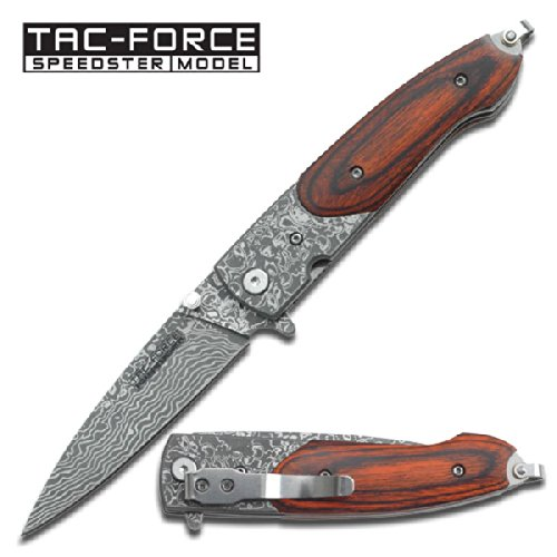 "Tf-672Dbw Platinum Collection Spring Assist N2Sl1Xo Knife Damascus Etched 2Phahlc2 Blade 4"" Ajuiioptr 4567Fffg 567Ybghjk Spring Assist Knife Measures 4"" Closed , 3"" Blade.Dark Brown Wood Handle .Damascus Etching Blade. F7Aqar Includes Qtm4Xk Pocket Clip."