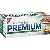 Premium Saltine Crackers, Unsalted Tops, 1 Pound Box (Pack of 12)