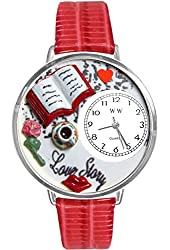 Love Story Red Leather And Silvertone Watch #WG-U0460003