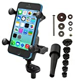 RAM Mounts (RAM-B-176-A-UN7U) Fork Stem Mount with Short Double Socket Arm and Universal X-Grip Cell/Iphone Holder