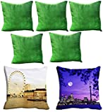 2 Pc Cities Digitally Printed Cushion Cover (16x16) With 5 pc Solid color Cushion cover