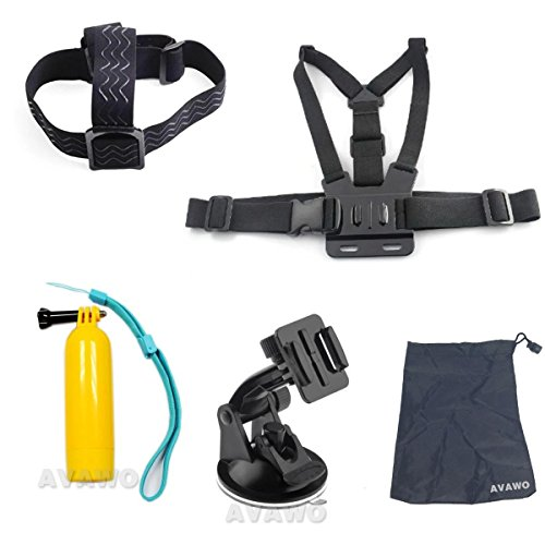 AVAWO® 5-in-1 Accessories Kit for Gopro HD Hero 4/3+/3/2/1 Camera, Chest Belt Strap Mount + Head Belt Strap Mount + Floating Handle Grip + Car Suction Cup Mount Holder + AVAWO Pouch