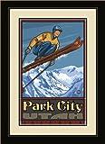 Northwest Art Mall PAL-0169 FGDM SJ Park City Utah Ski Jumper Framed Wall Art by Artist Paul A. Lanq