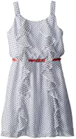 Amy Byer Big Girls' Ruffle-Front Belted Dress