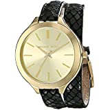 Michael Kors MK2315 Women's Slim Runway Champagne Dial Yellow Plated Steel Black Leather Strap Watch