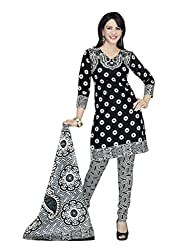 Araham Black and White Printed 100% Cotton Unstitched Salwar Suit Dress Material