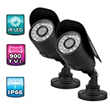 """2 Packs FLOUREON® 900TVL High Resolution 1/3"""" 3.6mm Lens 24 IR Led 15m Night Vision IP66 Waterproof& Vandalproof Indoor/Outdoor CMOS NTSC CCTV DVR Security Camera Perfect for your Home, Office, Shop, Business, Restaurant"""