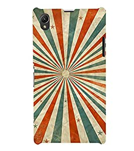 MULTICOLOURED SUN RAYS LINES PATTERN 3D Hard Polycarbonate Designer Back Case Cover for Sony Xperia Z1 :: Sony Xperia Z1 L39h