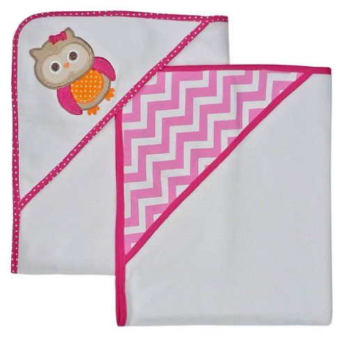 Neat Solutions Applique Print Interlock Knit Terry Hooded Towel Set, Owl, 2-Count