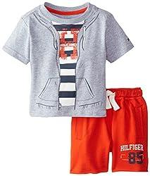 Tommy Hilfiger Baby-Boys Newborn Shoreman Tee Set, Grey Heather, 3 Months