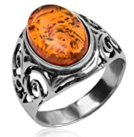 Baltic Honey Amber and Sterling Silver Celtic Oval Ring Sizes 5,6,7,8,9,10,11,12 from Ian and Valeri Co.