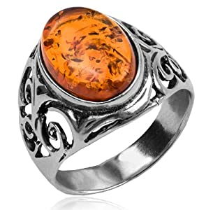 Baltic Honey Amber and Sterling Silver Celtic Oval Ring Sizes... by Ian and Valeri Co.
