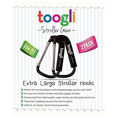 Extra Large Stroller Hooks for Mommy By Toogli (2 Pack) - Perfect Stroller Accessories for Hanging Diaper Bags, Purses, Toys & More |Clips Fit All Makes & Models - Lifetime Guarantee