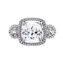 buy Sterling Silver Cushion Cut White Cubic Zirconia Engagement Ring Spj