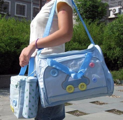 4 pcs Super Cute Baby Diaper Changing Bag Set - Baby Blue