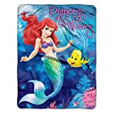 Disney Princess Ariel Little Mermaid Princess of the Waves Micro Raschel Throw Blanket 46 X 60