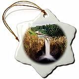 3dRose Danita Delimont - Waterfalls - Salish Lodge, Snoqualmie falls, Washington, USA - US48 CCR0319 - Charles Crust - 3 inch Snowflake Porcelain Ornament (orn_147818_1)