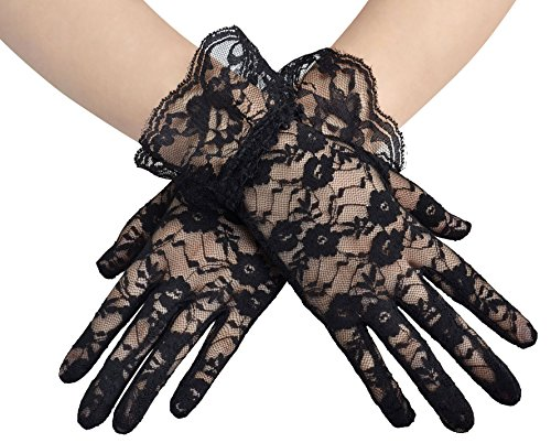 Simplicity Sheer Lace Floral Tulle Bridal Wedding Gloves w/ Wrist Ruffle, Black