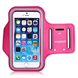 [Lifetime Hassle-Free Warranty] MoKo Sports Armband for Apple iPhone 6 4.7 & Samsung Galaxy S6 / S6 Edge 5.1 inch - Key holder Slot, Water Resistant, Sweat-proof, Perfect Earphone Connection while Workout Running, MAGENTA (Compatible with Cellphones up to 5.2 Inch, will Not Fit iPhone 6 Plus)